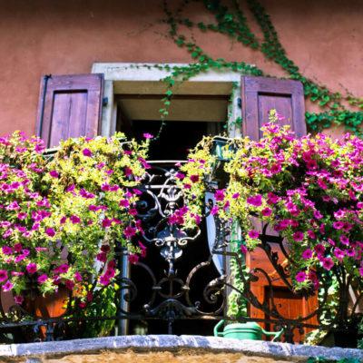 Балкон оформленный цветами