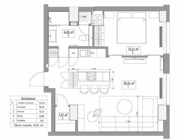 """Дизайн интерьера однокомнатной квартиры """"Контраст в самом центре города"""" by NP Studio Design - фото 16"""