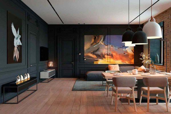 """Дизайн интерьера трехкомнатной квартиры эклектика: классика + лофт """"Patrick"""" by ZOOI - фото 6"""