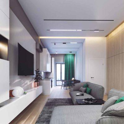 """Дизайн интерьера однокомнатной квартиры """"Лаконичный контраст"""" by One M2 ARCHITECTS"""