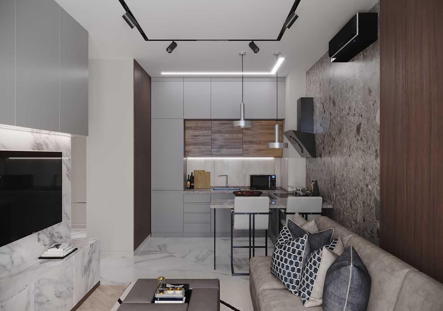 henesi by ns interior design 01 - Дизайн интерьера 1-комн.кв. «Современность в ЖК Henesi House»  by NS INTERIOR DESIGN