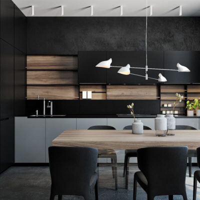 Эффектная лампа на кухне