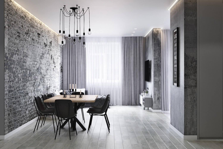 "loft apartment by fialkovskiy img01 - Дизайн интерьера двухкомнатной квартиры ""Apartment Loft"" by Fialkovskiy"