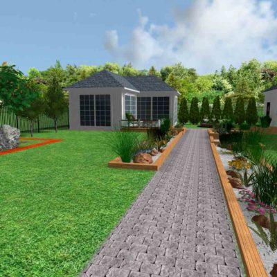 3D визуализация сада в стиле модерн by Hedera