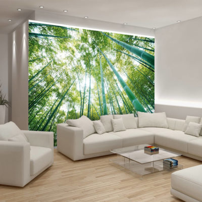 Деревья на фотообоях в гостиной