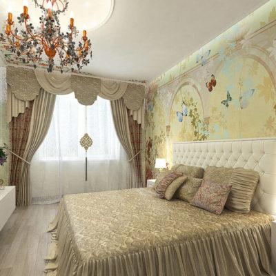 Фотообои у изголовья кровати в спальне