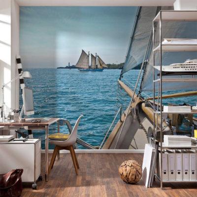 Море и кораблик на фотообоях