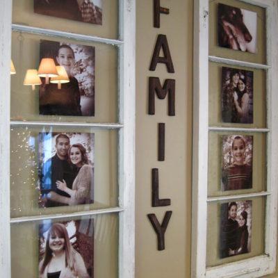 Оформленная стена фотографиями