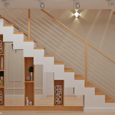 Дизайнерское оформление пространства под лестницей