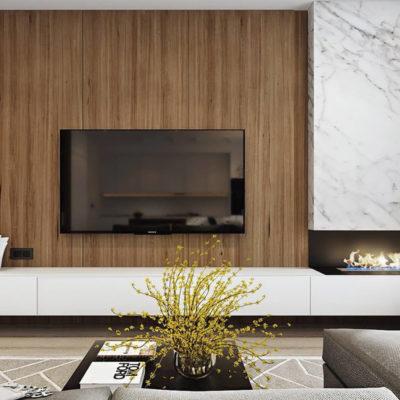 Телевизор возле камина