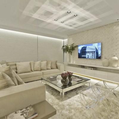 Большой ТВ в светлой комнате для отдыха